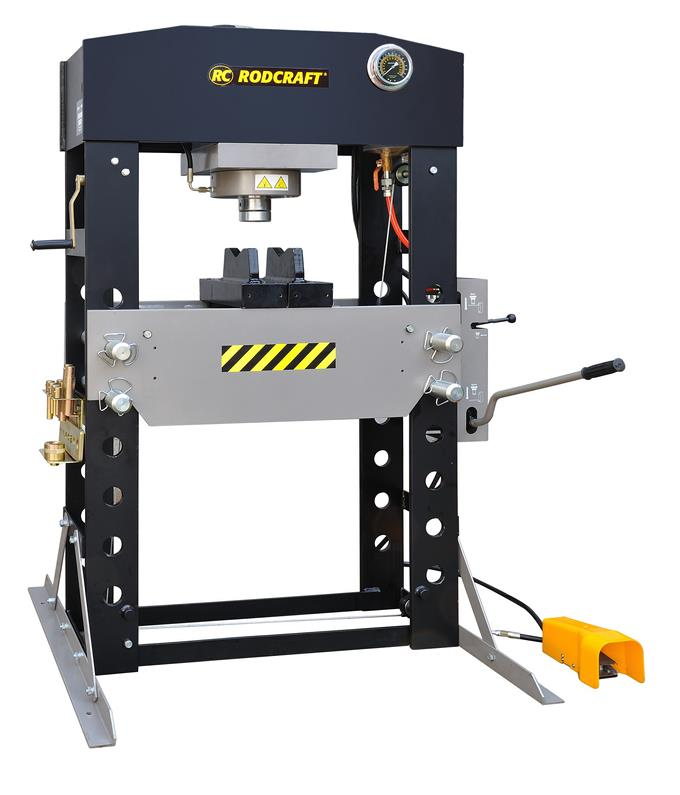 Robust Rodcraft high capacity 75 and 100 tons air-hydraulic presses: WP75P and WP100P